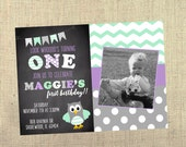 Owl Birthday Invitations - First Birthday Invites - Look Whoooo's Birthday Party - Kids Birthday