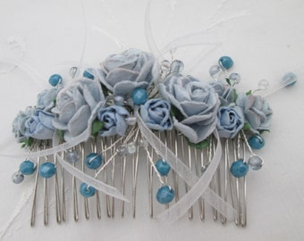 Hair comb blue roses beads ribbons silver bridal wedding prom