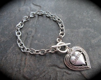 Diabetic Medical Alert Bracelet with silver link chain and toggle clasp Diabetes Awareness Bracelet Filigree Heart charm bracelet