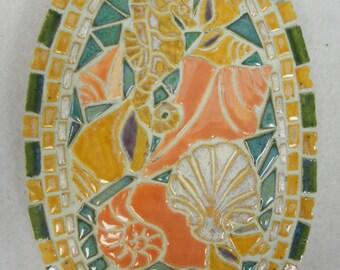 "SEA HORSE with Sea Shells Mosaic Wall Art Handmade Ceramic Tile  9"" x 6"""