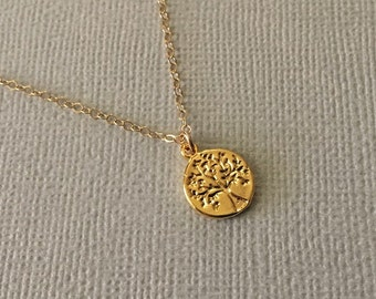 Tiny Tree of Life Necklace in Gold -Gold Tree of Life Necklace -Nature Necklace