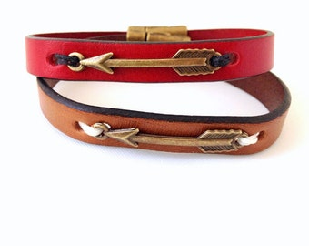 Brass Arrow Leather Bracelet. Choose Bracelet Color. Magnetic Clasp Premium Leather Bracelet.
