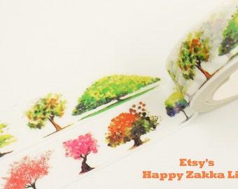 Trees in Four Seasons - Japanese Washi Masking Tape - 11 yards