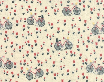 SALE - Bicycle and Tulip Fabric - Mon Ami by Basicgrey from Moda - 1 Yard