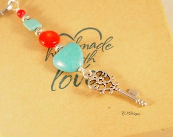 Turquoise and Coral Key Chain, Beaded Key Chain, Southwestern Key Ring, Handmade Key Chain, CKDesigns.us