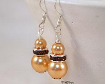 Tan Pearl Earrings, Pearl Wedding Earrings , Topaz Dangle Pierced or Clip-on Earrings, OOAK Handmade Earrings. CKDesigns.US