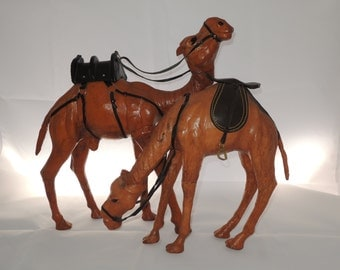 Large Dromedary Leather Camel Vintage Figures, Set of Two