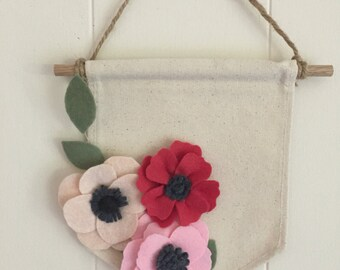 Felt Flower Banner - Anemone & Wildflowers