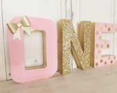 """12"""" First Birthday """"ONE"""" with Bow ~ PHOTO PROP ~ Pink & Gold Glitter ~ Free Standing ~ Decoration ~ Table Decor"""