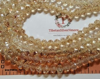1 strand of 16 inches of 8x6mm Faceted Rondelle Light Champagne color Chinese Crystal
