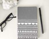Wabi Sabi hand printed Moleskine journal /notebook in grey.