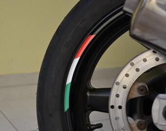 "8x Flag Sticker Stripes Italy Italian Tricolore Stripe Motorcycle Rim For 17"" Wheel"