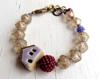 Stormy Weather - handmade bracelet, house bracelet, bead bracelet, grey marsala bracelet, burgundy jewellery, house jewellery, songbead, uk