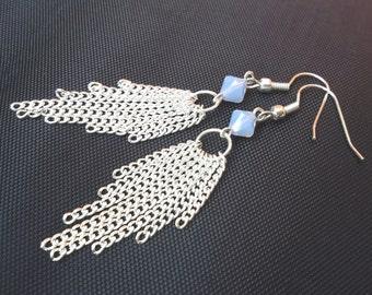 Beaded tassel earrings, boho tassel earrings, boho silver earrings, silver tassel earrings, boho jewelry, earrings for women earrings online