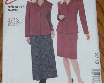Retired McCalls Stitch N Save two Piece Dress Pattern 3713 Size 6 8 10 12 Misses