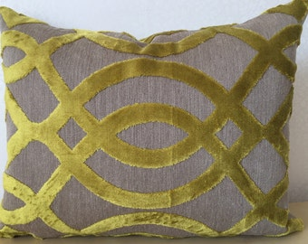 LUMBER Accent Chartreuse LIME Zest Du Barry Trellis from Osborne & Little RECTANGLE cushion cover in covers in Citrus Lemongrass yellow