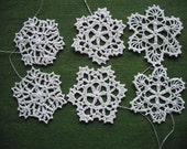 Handmade Christmas tree ornaments. Crochet Snowflakes with twine to hang. white decorations.Set of 12