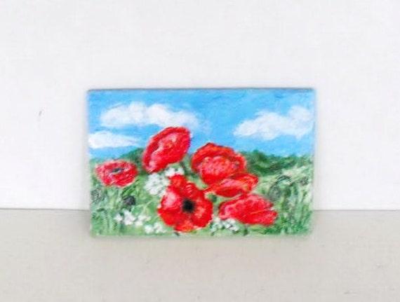 Hand Painted poppy flowers field Magnet . Artwork Home Garden Decor.