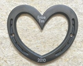 HORSESHOE wall heart, 6th or 11th anniversary gift, iron or steel, engraving available