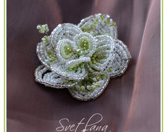 Handmade Beaded Flower Brooch and hair clip - white, green (ready to ship)