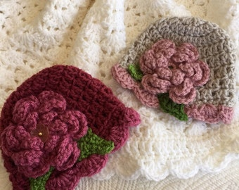 Cozy Baby Sparkle Afgan and Downton Abbey Hats, Crochet Baby Blanket, Crochet Baby Afghan, Spring Afghan, Baby Shower Gift