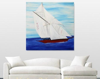 "Oil seascape painting Abstract Original Modern 36""x36"" Yacht painting by Nicolette Vaughan Horner"