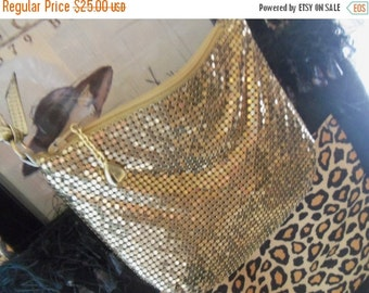 Now On Sale Vintage Whiting & Davis Little Bag Mid Century Handbag Purse Gold Metal Mesh Mad Men Mod