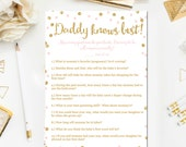 Pink and Gold Baby Shower Games, Daddy Knows Best Game, Baby Shower Games Glitter Confetti Blush Pink Printable Instant Download BB1