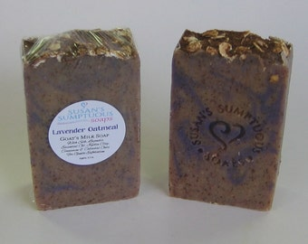 Lavender Oatmeal - Goat's Milk Soap with Silk, Lavender Essential Oil & Colloidal Oats for Gentle Exfoliation / Cold Process