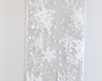 "10 Printed WINTER FLURRY WHITE Cello Bags (4"" x 2-1/2"" x 9-1/2"")"