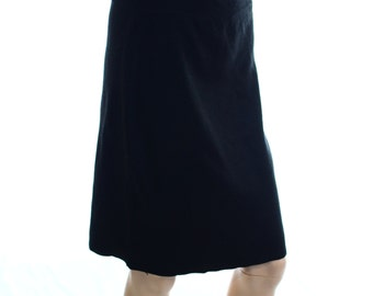 Vintage 80s Black Medium Knit Knee Length Pencil Skirt UK 12 US 8
