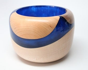 Artistic Turned / Carved Wooden Bowl made of Maple, Black Walnut, & Cherry Wood(s) with a Dark Blue Pearl Resin - Collectible Wedding Gift