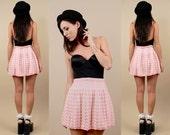 60s 70s Vtg Baby Pink Sweater Knit CROCHET High Waisted DOLLY Skirt / LOLITA Kawaii Skater Flared Grunge Mod / Xs Sm