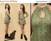 15% OFF 1DAY SALE 90s Vtg Crochet Moss Green Sleeveless Mini Dress / Keyhole Metal Necklace Halter / Grunge Club Kid Boho / Xs