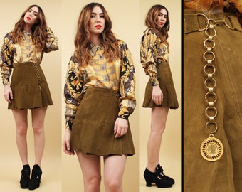 60s Vtg Genuine SUEDE Leather CHAIN Wrap Skirt / High Waisted Coin Medallion MOD Hippie Boho Rocker GoGo / Adjustable Sm - Med