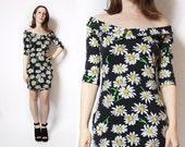 1980s Vintage Besty Johnson Daisy Print Bodycon Dress Medium