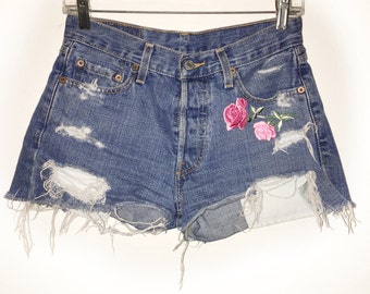 Pink Rose Patch Levi Summer Reconstructed Denim Shorts One of a Kind 90s Grunge Valentines