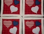 Primitive Whimsical Country Patriotic Americana HEARTS Coasters Mug Mats Hot Pads Trivets