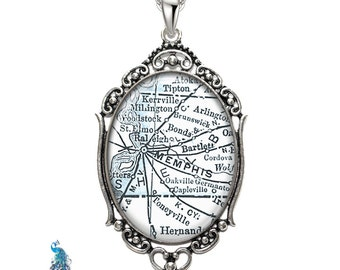 Vintage Map Necklace Oval Filigree Pendant City of Memphis TN State of Tennessee United States Antique Map Pendant