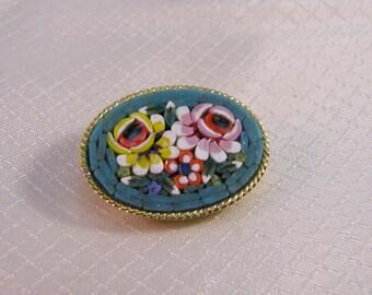 Italian Micro Mosaic Rose Blossom Brooch