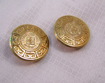 Vintage Givenchy Gold Plated Calendar Style Clip Earrings