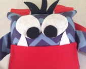 Little Monster Tooth Fairy Pillow Navy Chevron Flannel with Tooth Fairy Receipts