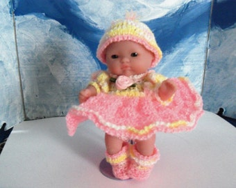 5 Inch Berenguer Doll in Pink Party Dress and Crocheted Crib/Purse