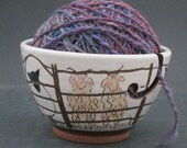 Ceramic Yarn Bowl with Sheep, Goats and an Orange Cat