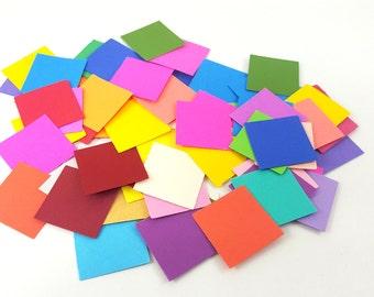 "Square Confetti, Square Cut Outs, Die Cut Squares, Cut Out Squares, Shape Cut Outs, 1 inch Squares, 1"" Square Cutouts, Color Paper Squares"