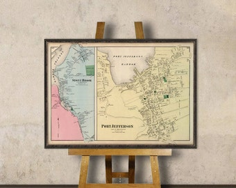Port Jefferson map - Old map - Restored maps - Old city map