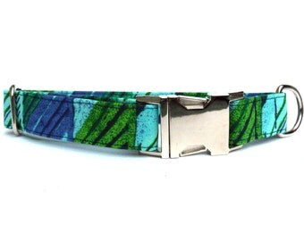 Geometric Blue Green Dog Collar