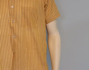 Men's Retro Short Sleeved Shirt Indian Yellow with Brown Pinstripes