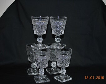 6 - Imperial  Wine Glasses in The Cape Cod Pattern
