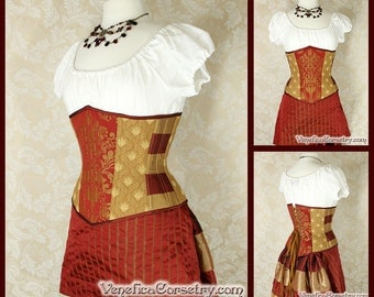 "Gryffin Wizard House Inspired Underbust Corset - Solid Front, Crimson & Gold - Corset Size 32, Best Fits Waist 35.5""-37"" - Ready to Ship"